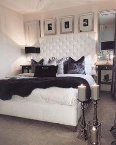 Glam bedroom decor home ideas living room modern glamorous be . glam bedroom ideas and decor modern Romantic Bedroom Decor, Glam Bedroom, Home Decor Bedroom, Bedroom Ideas, Bedroom Black, Black And White Bedroom Teenager, Bedroom Wall, Bed Room, Glam Bedding