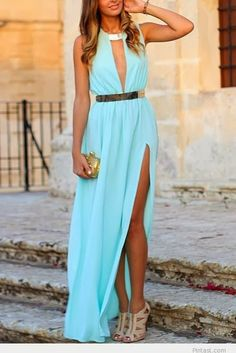 Attractive Blue Evening Dress with Beige High-Heeled Shoes and Golden Mini Bag, Very Fashionable find more mens fashion on www.misspool.com