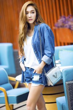 Denim Polo with White Inner Top Fashion of Jessica Jung Snsd Fashion, Fashion Line, Korean Fashion, Jessica & Krystal, Krystal Jung, Girls Generation Jessica, Jessica Jung Fashion, Denim Polo, Style Outfits