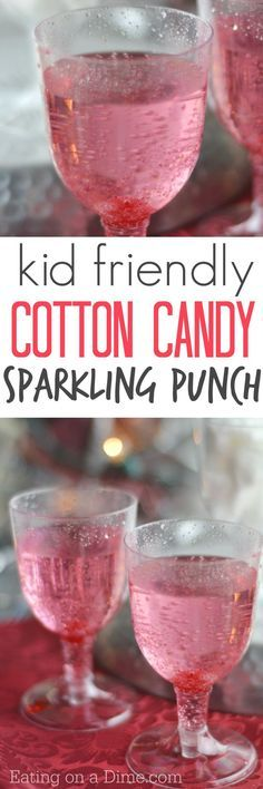 Kid Friendly Cotton Candy Drink recipe. Seriously so easy! You only need two ingredients, but we like to toss in a cherry to make it extra special for the kids. Perfect for New Year's Eve!