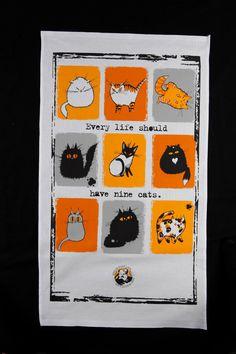 Every Life Should Have Nine Cats tea towel. via Etsy.
