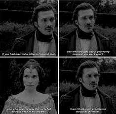 """""""If you had married a different kind of man, one who saw the way the curls fell on your neck in his dreams, then I think your experience would be different"""" - Harriet and Ernest #Victoria"""
