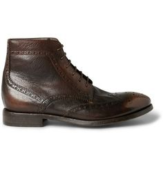 Paul Smith Washed-Leather Brogue Boots