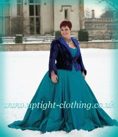 A curvaceous hourglass corset in Turquoise silk, with a embroidered bird emblem in purple , with applied Swarovski crystals. With the same full ball gown Turquoise silk skirt as Dragonfly queen, but this time finished of with a fitted and flattering purple velvet jacket with open collar. A simpler variation of some of the lovely victorian jackets that uptight have been doing over the years. Turquoise Wedding Dresses, Embroidered Bird, Velvet Jacket, Purple Velvet, Gorgeous Fabrics, Silk Skirt, Looking Stunning, Hourglass, Skirt Fashion