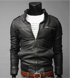 Men PU leader motorcycle jacket. More color choice.