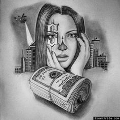 Chola and Payasa Chicana ART and Graphics Chicano Art Tattoos, Chicano Drawings, Gangster Tattoos, Chicanas Tattoo, Clown Tattoo, Money Tattoo, Tattoo Sketches, Tattoo Drawings, Arte Lowrider