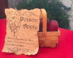 This listing is for a 9 by 7 Poison Apple Spell page. (Apples and basket are not included). This Poison Apple Spell page is perfect for a Snow White themed Centerpiece, just put along with a basket of apples Snow White Centerpiece, Apple Centerpieces, Party Centerpieces, Couple Party Games, Halloween Apples, Halloween Ideas, Halloween Party, Disney Sweet 16, Snow White Poison Apple