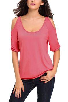 Pink Scoop Neck Cold Shoulder Quarter Sleeve Top