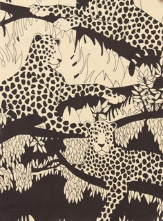 We love the drama in this black and white upholstery fabric. Textiles, Textile Patterns, Print Patterns, Illustrations, Graphic Illustration, Conversational Prints, Stoff Design, Motifs Animal, Tropical Pattern