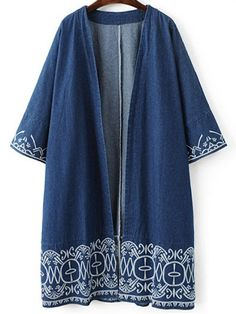 AD : Embroidered Denim Trench Coat - BLUE   Clothes Type: Trench   Material: Jeans   Type: Wide-waisted   Shirt Length: Long   Sleeves Length: Three Quarter   Collar: Collarless   Pattern Type: Floral   Decoration: Embroidery   Style: Casual   Season: Fall,Spring   Weight: 0.670kg   Package: 1 x Coat