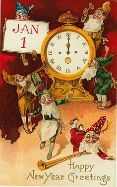 Happy New Year Greetings - Gnomes Partying Around a Clock - Vintage Holiday Art Giclee Art Print, Gallery Framed, Espresso Wood), Multi Vintage Happy New Year, Happy New Years Eve, Happy New Year Images, Happy New Year Cards, Happy New Year Greetings, Happy New Year 2019, New Year Wishes, Vintage Christmas Cards, Vintage Holiday