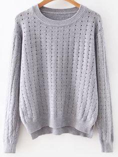 GreyHollowOutDipHemSweater -SheIn(Sheinside)