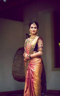 Ideas for indian bridal sari hindus South Indian Wedding Saree, Indian Bridal Sarees, Wedding Silk Saree, Indian Bridal Outfits, Indian Bridal Fashion, Bridal Lehenga, South Indian Bride Saree, Tamil Wedding, South Indian Weddings