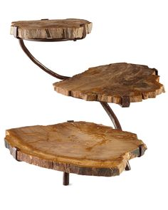 Janice Minor Petrified Wood Serving Pieces.  3-tier $400