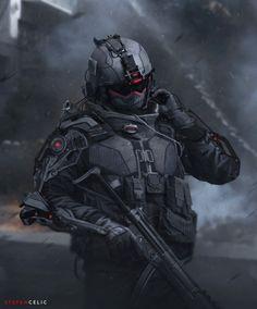 Futuristic Soldier 2 by Stefan Celic on ArtStation Sci Fi Armor, Sci Fi Weapons, Futuristic Armour, Futuristic Art, Science Fiction, Arte Robot, Robot Art, Templer, Future Soldier