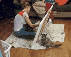 Kitty Helps Painting
