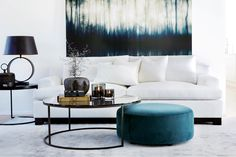 How To Get A Luxury Living Room With Golden Lighting, Home Decor, Living Room Ideas: How to Get a Luxury Living Room with Dazzling Living Room Furniture. Ottoman In Living Room, Living Room Interior, Home Living Room, Living Room Furniture, Living Room Designs, Living Room Decor, Home Design, Interior Design, Interior Decorating