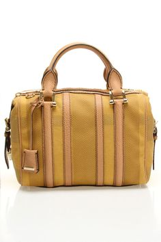 Burberry Medium Nevinson Bowling Bag In Pale Yellow.
