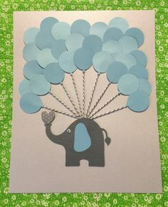 Blue Elephant Baby Shower Sign in Book guest by FavorsAndMemories
