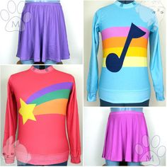 Preorder Mabel Pines Gravity Falls Cosplay Sweater Sweatshirt w/ Skirt... (€50) ❤ liked on Polyvore featuring mabel