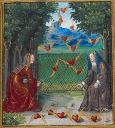 British Library, Stowe MS 955, f. 13r ('Two women attempting to catch flying hearts'). 'Pierre Sala, Petit Livre d'Amour (also known as Emblesmes et Devises d'Amour), a collection of love poems and 'énigmes', preceded by a dedication in prose from the lover/author to his mistress Marguerite'. c.1500