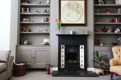 Shelving | An Edwardian Semi Decorated In Farrow & Ball Mole's Breath And Crown Aged White | Home Tour | Interiors | Image by Adam Crohill | http://rockmystyle.co.uk/kates-edwardian-semi/