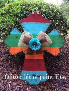 Sample sale Hand Painted Wood Cross door by GlitterBitofPaint