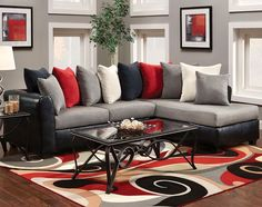photos of red and gray living room with fireplace | Wonderful Gray And Red Living Room Ideas #1 - Grey Couch Living Room ...