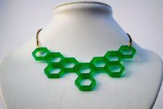 hexagon emerald green necklace
