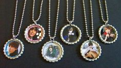 Quantity of 6 Justin Bieber Birthday Party Favors Bottlecap Necklaces Goody Bags for Kids. $12.20, via Etsy.