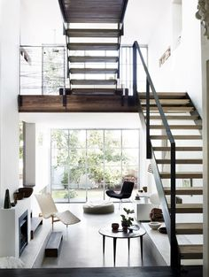 Stairs are often a need for home design today, especially if the house is built on a storied basis. The interconnection between rooms or between floors is a functional element in the house. Interior Exterior, Home Interior, Interior Architecture, Interior Decorating, Installation Architecture, Minimal Architecture, Studio Interior, Interior Stairs, Scandinavian Interior