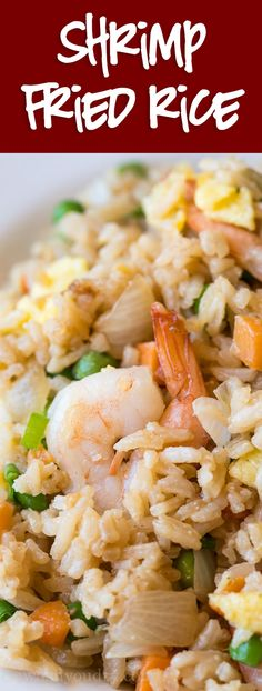 This super easy Shrimp Fried Rice is way better than takeout and so quick to make at home! via This super easy Shrimp Fried Rice is way better than takeout and so quick to make at home! Seafood Rice Recipe, Shrimp Recipes Easy, Seafood Recipes, Asian Recipes, New Recipes, Cooking Recipes, Healthy Recipes, Ethnic Recipes, Fried Rice Recipes