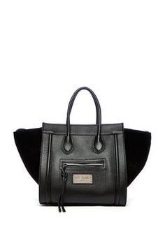 Mario Valentino Cynthia Winged Handbag Black Leather Suede Tote 43% off  retail 5572cb6ffecf6