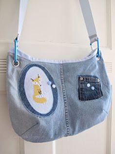 Tasche aus alter Jeans mit Innenfutter aus Herrenoberhemd