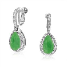 Bling Jewelry Clip On Simulated Jade CZ Bridal Earrings Rhodium Plated Brass -- Be sure to check out this awesome product. (This is an affiliate link) #NiceJewelry