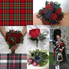tartan materials and ribbons and the national emblem of scotland, the thistle.