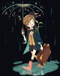 Newt Scamander /Fantastic Beasts and where to find them. Mundo Harry Potter, Harry Potter Anime, Harry Potter Fan Art, Harry Potter Universal, Harry Potter Fandom, Harry Potter World, Fanart, Scorpius And Rose, Desenhos Harry Potter