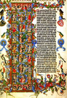 The Wenceslas Bible : A sumptuous six-volume Bible in German made for Wenceslas IV, King of Bohemia. It is one of the most fully illustrated medieval Bibles even though the decoration extends only as far as the book of Nehemiah, just over halfway through the Old Testament. 14th c.