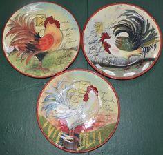 SUSAN WINGET CERTIFIED INTERNATIONAL SET 3 ASST ROOSTER DESIGNS DINNER PLATES  #SUSANWINGET