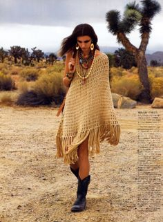 """""""Bohemian"""" style I'm fond of. I even had a homemade, fringed Vermont poncho made from organic cotton, exactly like this. Lost it at a festival. Recovered it. Then lost it at a party. Unfortunately, bohemian lifestyles are death to bohemian clothing."""