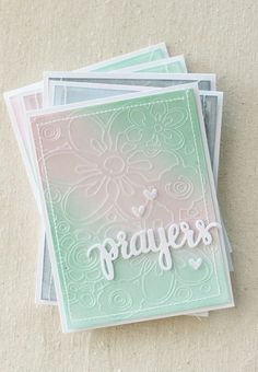 "Cards made using Simon Says Stamps ""Prayers"" stamp set, Distress Ink backgrounds, and an etched acetate overlay."