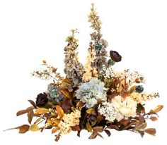 Blue and Brown Silk Centerpiece Arrangements traditional artificial flowers I love these colors.  $445
