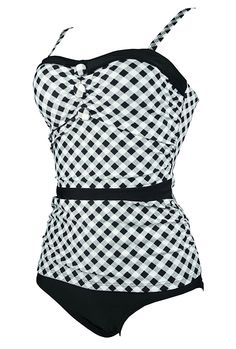 Cocoship Women's Retro Ruching Button Collar Trim Two Piece Bikini Set Polka Swimsuit(FBA) at Amazon Women's Clothing store: