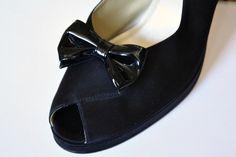 Nice Vintage Shiny Black Bow Shoe Clips  estate by estatesalegems, $4.50