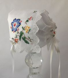 Handkerchief Bonnet Newborn Hanky Bonnet by myheavenlydesigns