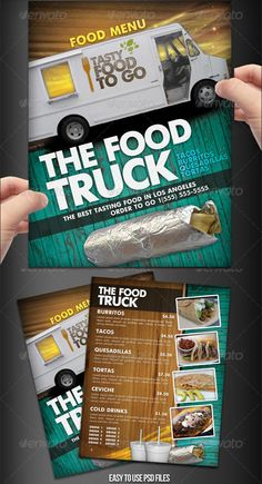 a clever compositional setup on both front and back that fills space and moves the eye through the menu Restaurant Menu Design, Food Menu Design, Restaurant Flyer, Food Truck Design, Food To Go, Order Food, Concession Stand Food, Food Truck Menu, Food Truck Festival