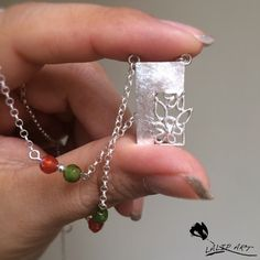 Small tiny silver necklace with agate stones.so cute and lovely