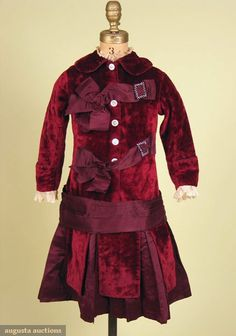 Child's Velvet Bustle Dress, 1880s, Augusta Auctions, October 2007 Vintage Clothing & Textile Auction, Lot 430