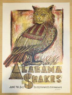 2013 Alabama Shakes - Birmingham Silkscreen Concert Poster by Dan Grzeca
