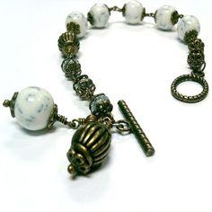 White Bracelet Brass Jewelry Blue Vein Beads Gift under by cdjali, $12.00